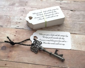 """Wedding Favors for Guests - Skeleton Key BOTTLE OPENERS + """"Poem"""" Thank-You Tags – Set of 75 - Ships from United States - Gunmetal Black"""