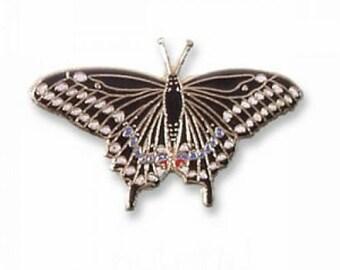 24 Karat Gold Plated Black Butterfly Pin