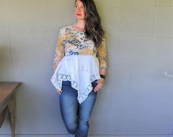 upcycled linen tunic festival clothing summer tshirt top romantic shirt medium Large recycled  wearable art fun clothes LillieNoraDryGoods