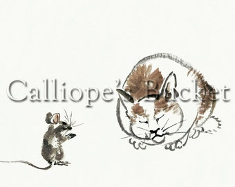 """Cat and Mouse, ink on paper (all artworks are sold without the """"Calliope's Bucket"""" stamp)"""