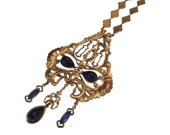 Vintage Art Nouveau Gold Handmade Necklace