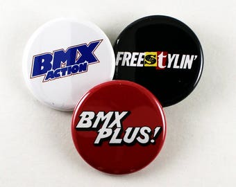 Old School BMX Magazine Logos | Pinback Buttons 80's Freestylin Bmx Action Rad
