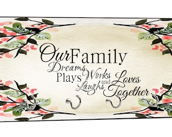 "Our Family..Loves Together on Floral Watercolor Print - 5"" by 11"" Key Hanger Rack - Household Decoration with Four Silvertone Hooks"