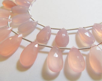 Matched Pair Rose Pink Chalcedony Faceted Pear Briolettes, Approx 15x8mm, Teardrops