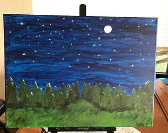 Night acrylic painting|room decor|canvas|artwork|aesthetic|teen|gift|creative