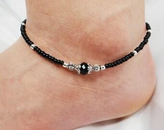 Anklet, Ankle Bracelet, Black Anklet, Crystal Anklet, Beaded Anklet, Beach Anklet, Ankle Jewelry, Foot Jewelry, Black Jewelry, Boho Jewelry