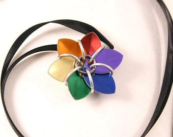 Rainbow Scalemaille Flower Pendant