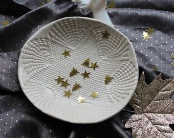 White, lace printed, handbuilt, hand glazed ceramics plate