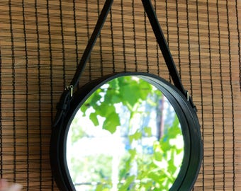 Leather Strapped Mirror interior leather decoration handmade leather leather mirror straps wall mirror handmade mirror Adnet mirror circular