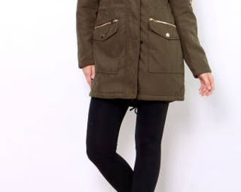 Women's Coat Green with fur on the neckline in S/M/L/XL