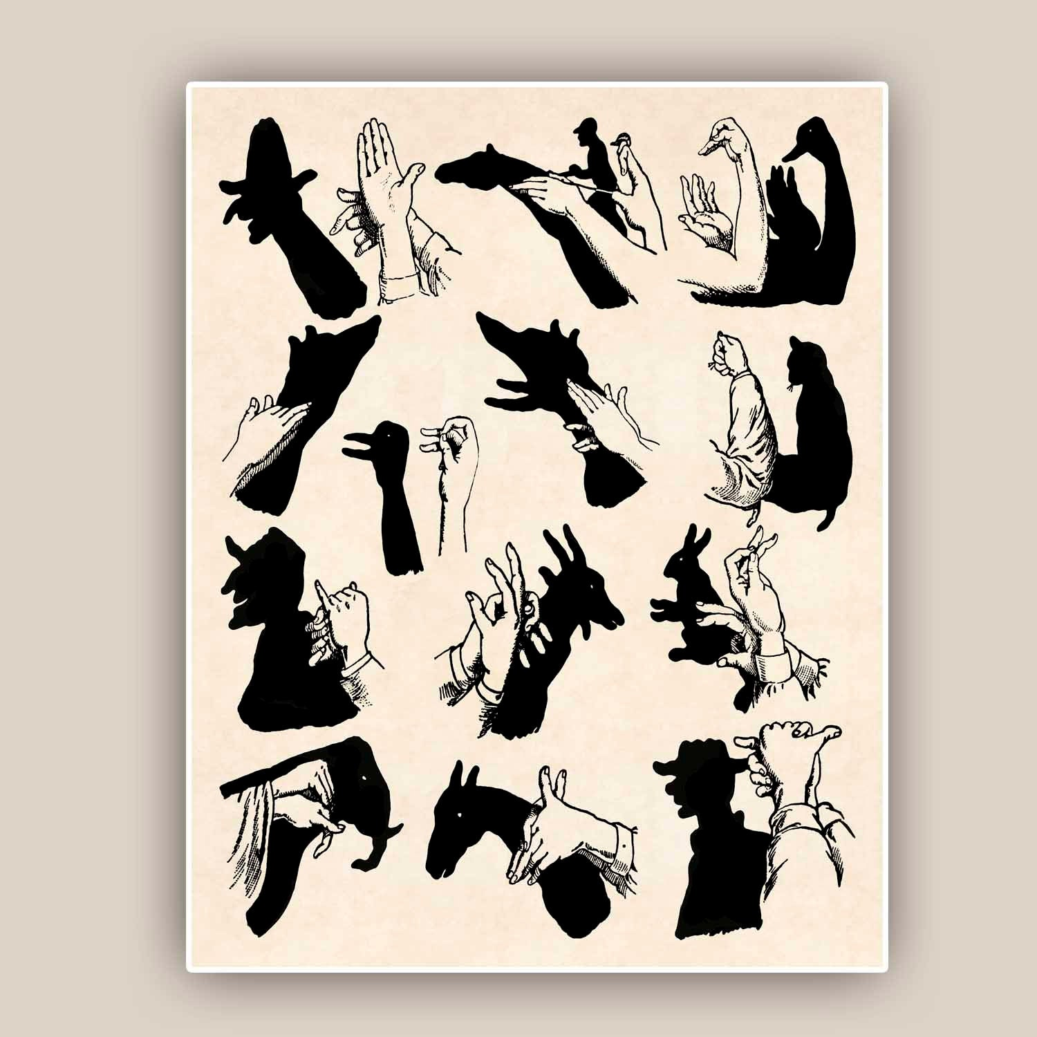 Shadow Puppet Print Hand Shadow Puppets Ombromania