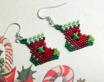 Christmas Stocking Earrings, Stocking Earrings, Christmas Earrings, Holiday Earrings, Red Earrings, Green Earrings, Dangle Earrings