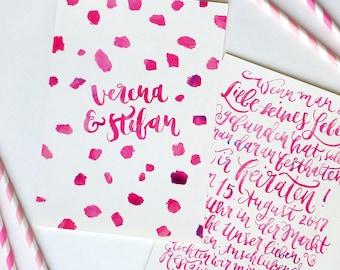 Wedding invitation - Hand-lettering by Brush