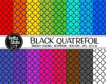 50% off SALE!! 16 Black Quatrefoil Digital Paper • Rainbow Digital Paper • Commercial Use • Instant Download • #QUATREFOIL-101-2-BB