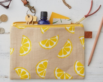 Screen Printed Linen Zipped Bag - Lemons Fruit Yellow - Make Up Bag / Pencil Case / Purse