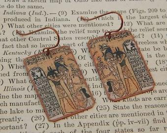 Egyptian earrings Ancient Egypt jewelry mixed media jewelry wearable art
