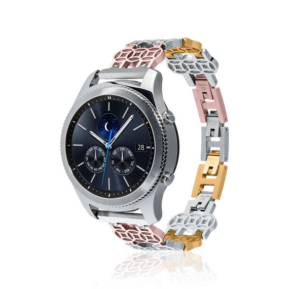 Watch Band FLOWER for Samsung Gear S3 Classic/Gear S3 Frontier - stainless steel and cubic zirconia
