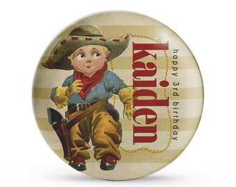 Personalized Plate, Children's Cowboy Plate, Personalized Western Birthday Party Melamine Plate