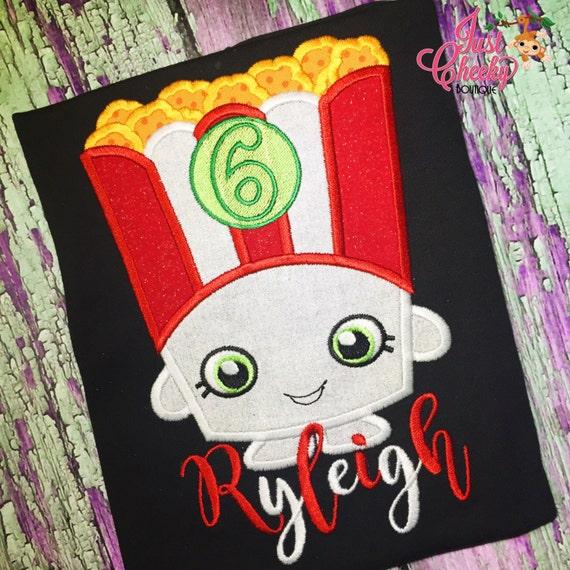 Poppy Corn - Shopkins Inspired Embroidered Shirt - Shopville - Shopkins Girls Shirt - Shopkins Birthday Shirt