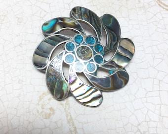 Vintage Abalone Brooch, Pinwheel Brooch, Silver