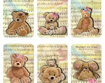 Teddy Bear Love -Digital Printable Collage Sheet - Set of 6 - ACEO - Instant Download - Journal - Scrapbook - Junk Journal