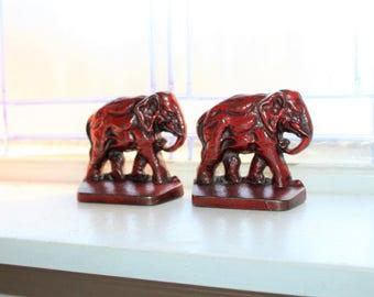 Vintage 1920s Bookends Elephants Cast Bronze