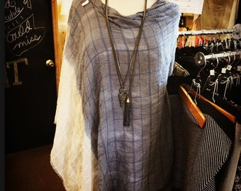 Blue White Ombre Cotton Poncho (lightweight)