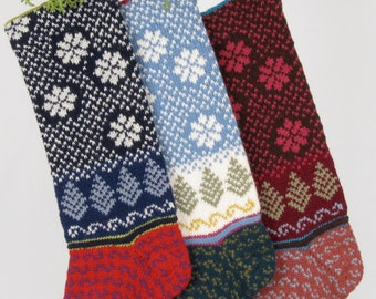 Hand-knit Christmas Stocking, Sky