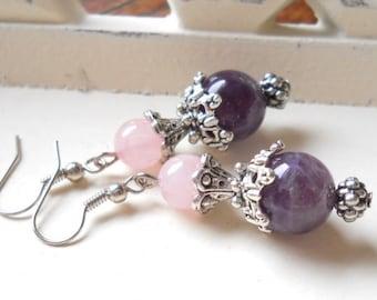 amethyst earrings vintage style earrings gemstone earrings purple earrings stone earrings purple gemstone earrings pink and purple jewelry