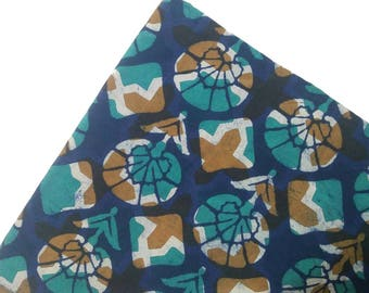Blue Green with Brown Block Floral Print Fabric by the Yard - Block Print Fabric, Cotton Fabric for Quilting, Sewing, Fabric Sold  by Yard