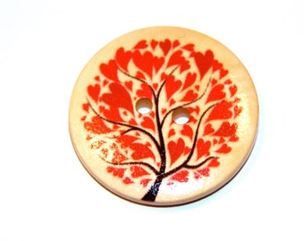 LOT 5 WOOD TREE RED HEART BUTTONS