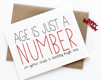 Age is just a number etsy funny birthday card age is just a number bookmarktalkfo Choice Image