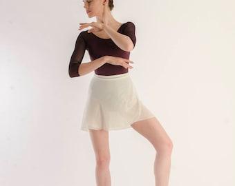 White shimmer chiffon ballet skirt