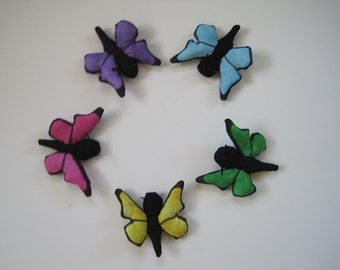 5 Butterfly Cat Toys - Filled with Organic Catnip - Pink, Blue, Green, Yellow, Purple