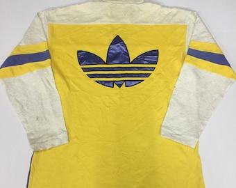 RARE!!! Vintage 90s Adidas Sweatshirt Big Logo Embroidery Spellout Multi Colour