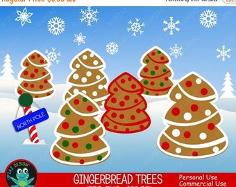 75% OFF SALE Gingerbread Tree Clipart, Commercial Use, Christmas Trees, Digital Clipart, Digital Images - UZ600
