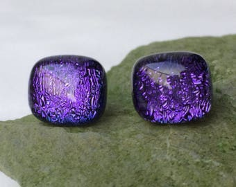 Violet Purple Dichroic Fused Glass Soft Rectangle Stud Earrings with Sterling Silver 925 Fittings