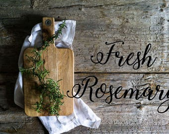 Styled Stock Photography | Rosemary on Rustic Wood | Rosemary Stock Photo | Herb Photo