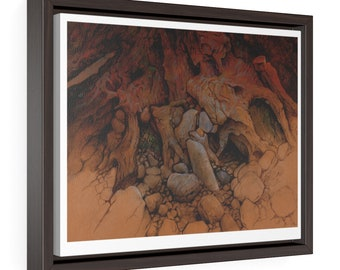 On A Beach, Pebbles And Tree Roots, jetsom, painting - Horizontal Framed Premium Gallery Wrap Canvas