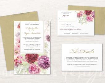 Watercolor Hydrangea Wedding Invitation Set