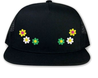 d3df636d97a DAISIES Flower Trucker Hat Daisy Flower Embroidered Flat Bill Hat Floral Snapback  Hat Cap