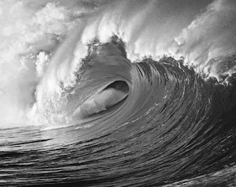 Black & White Photo of a Huge Wave in Hawaii Surfing Photographs Picture Print on Canvas, or Aluminum Metal Waves