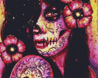 Modern Cross Stitch Kit By Carissa Rose, 'I'll Never Forget You' Day of the Dead Sugar Skull, Sugar Skull Cross Stitch, Counted Cross Stitch