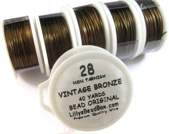 Vintage Bronze Plated Wire - 28 Gauge Wire for Making Jewelry, Round Non Tarnish Wire, Wire Wrapping Supplies
