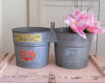 TWIN PAIL ~ Antique Galvanized Double Bucket / Planter / Storage Tote ~ Old Shabby Cottage Chic ~ Vintage Industrial Metal Bucket ~ WHEELING