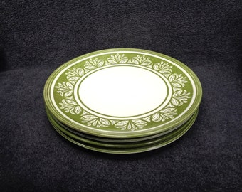 Set of 4 Dinner Plates in The Sheffield Lucerne Ironstone Pattern Made in USA Rare Pattern
