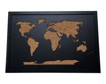 """3D Beautiful framed wood cork world map 36""""x24"""""""