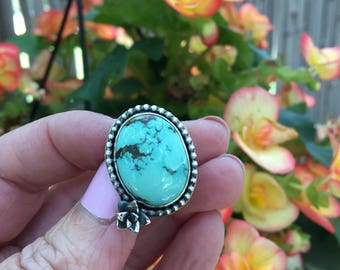 Gorgeous Cheyenne Turquoise and Sterling Silver Succulent Ring - oxidized sterling silver - size 5.75