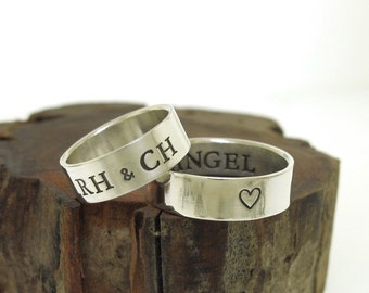 Posey Ring, custom made WIDE ring band, sterling silver ring, personalized ring with your message on the inside or outside, custom ring