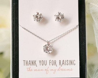 Mother of the Groom Gift, Silver Jewelry Set, Earring And Necklace Set, Bridal Party Gift Set, Silver Jewelry Set,Mother in Law Gift,N540-SB